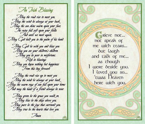 ... Prayer+Cards corinthians card no 296 irish blessings 2 card set set no
